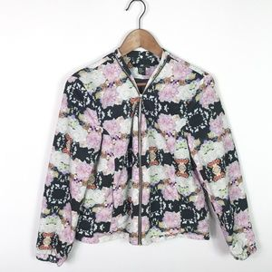 H&M Womens Bomber Jacket Size 10 Zip Front Floral